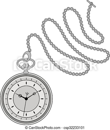 Pocket watch illustration. Pocket watch with chain ...