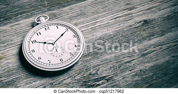 Pocket watch isolated on wooden background. 3d illustration - csp51217962