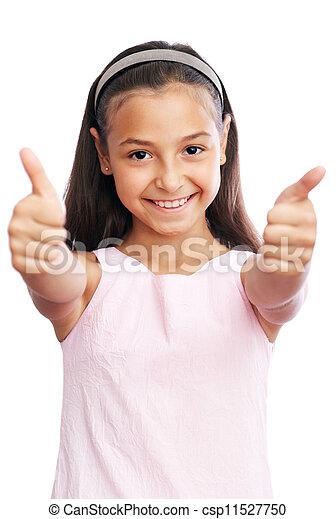 Una niña con pulgares arriba - csp11527750