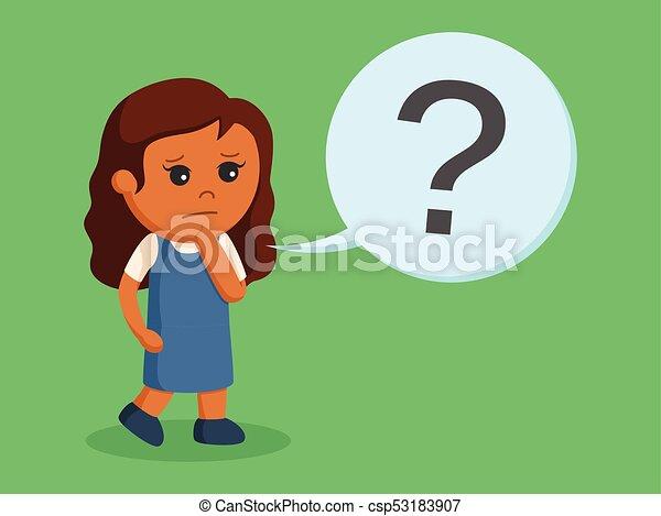 Una niña con signo de interrogación - csp53183907