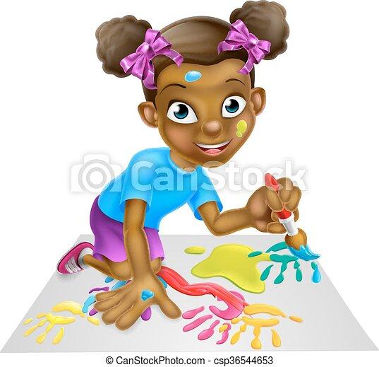 Pintura de niña de dibujos animados - csp36544653
