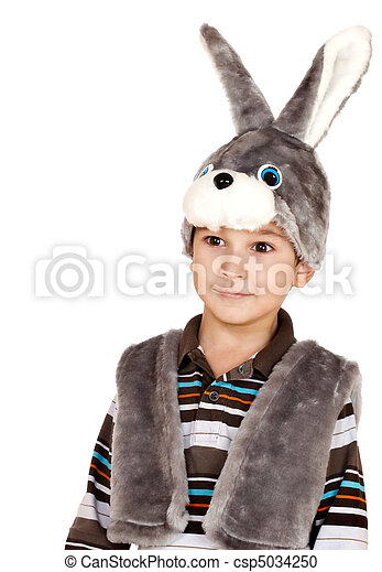 Niño con ojos grandes en traje de conejo - csp5034250