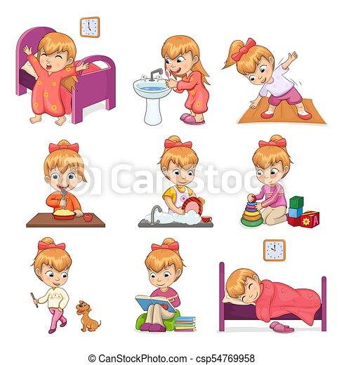 poco conjunto rutina diaria ilustraciones nia csp54769958