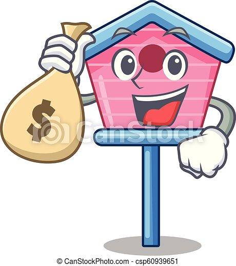 Con una pequeña casa de dibujos animados en primavera - csp60939651