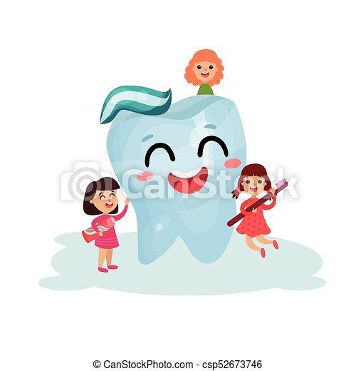 Poco dolce dentale ragazze gigante illustrazione dente