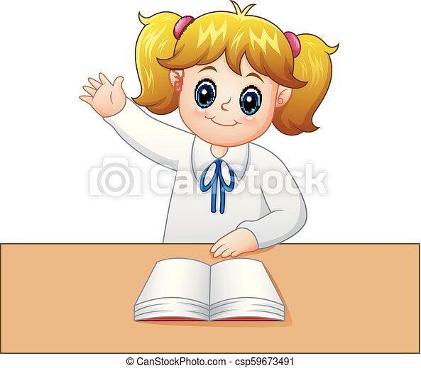 La niña está levantando la mano para hacer preguntas - csp59673491