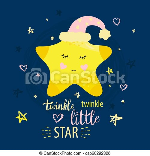 Tarjetas Vesctoras Nocturnas Con Little Star Y Frases Con