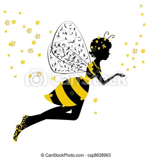 poco, fata, ragazza, ape - csp8638963