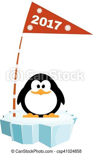 La ilustración de un pingüino en el hielo con una bandera. Esperando las vacaciones de año nuevo - csp41024858