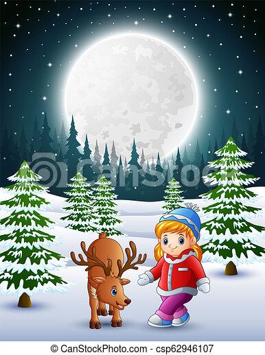 poco, giardino, nevoso, cervo, ragazza notte, gioco - csp62946107