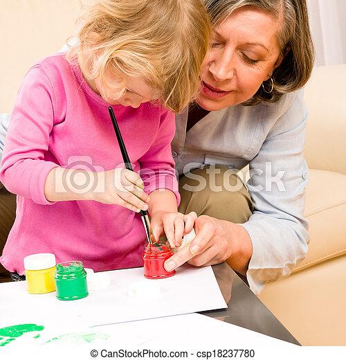 poco, gioco, nonna, vernice, handprints, ragazza - csp18237780