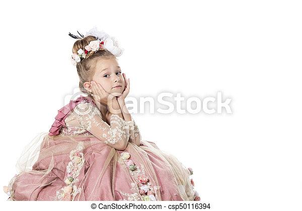 poco, lei, isolato, horse., attesa, bianco, principe, principessa - csp50116394