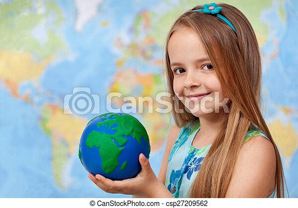 poco, -, mani, mondo, ragazza, mio, classe, geografia - csp27209562