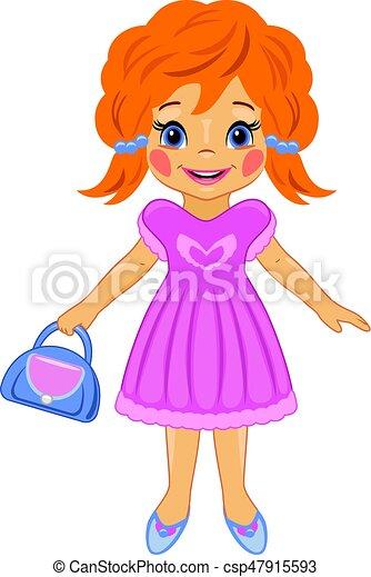 Una niña elegante con una bolsa. dibujo de dibujos ...