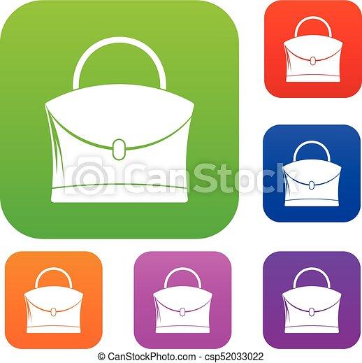 e6c6c6c92 Poco, mujer, color, bolso de colección, conjunto. Plano, poco, mujer ...