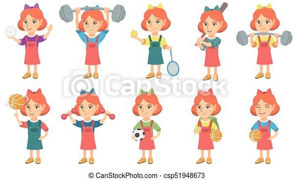 Pequeñas ilustraciones de vector de chicas caucásicas. - csp51948673