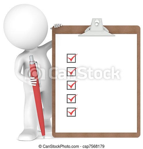 Un pequeño personaje humano con un Clipboard y Pen - csp7568179