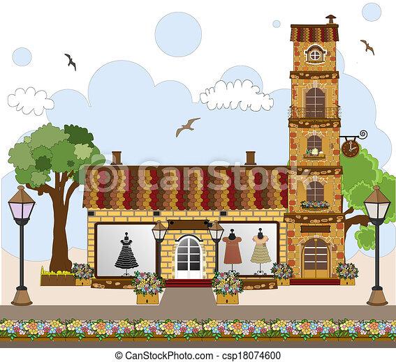 Una bonita casa retro, tienda o boutique - csp18074600