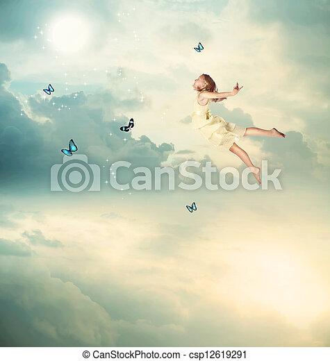 poco, volare, crepuscolo, ragazza - csp12619291
