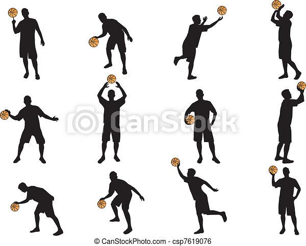 Pocos siluetas de baloncesto - csp7619076