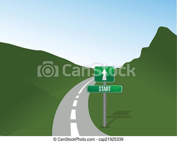 początek, projektować, droga, ilustracja - csp21925339