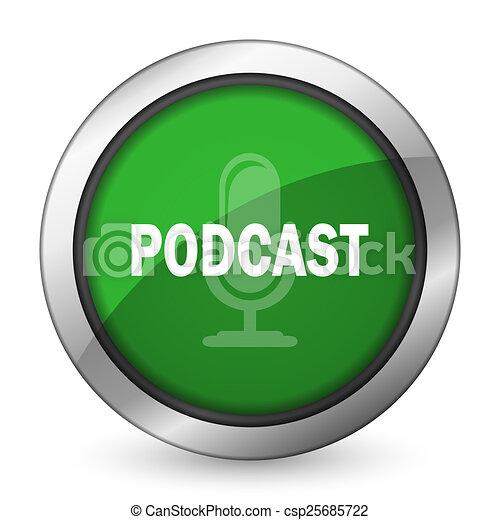 podcast green icon - csp25685722