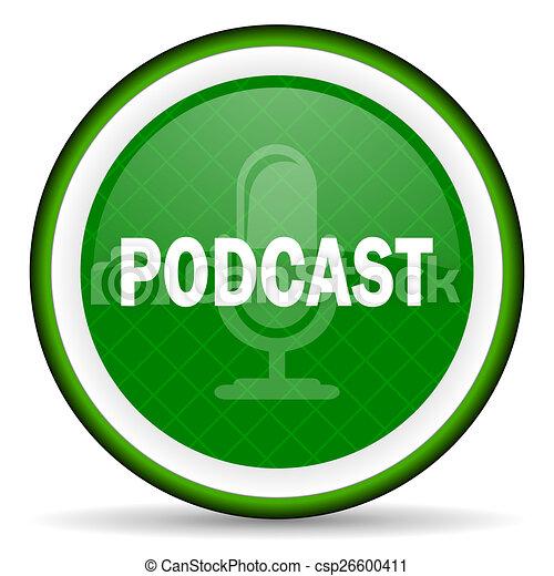 podcast green icon - csp26600411