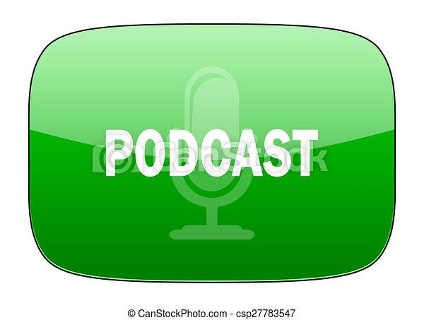 podcast green icon - csp27783547