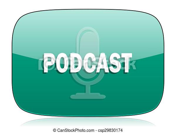 podcast green icon - csp29830174
