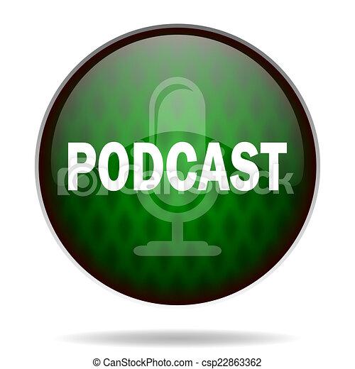 podcast green internet icon - csp22863362