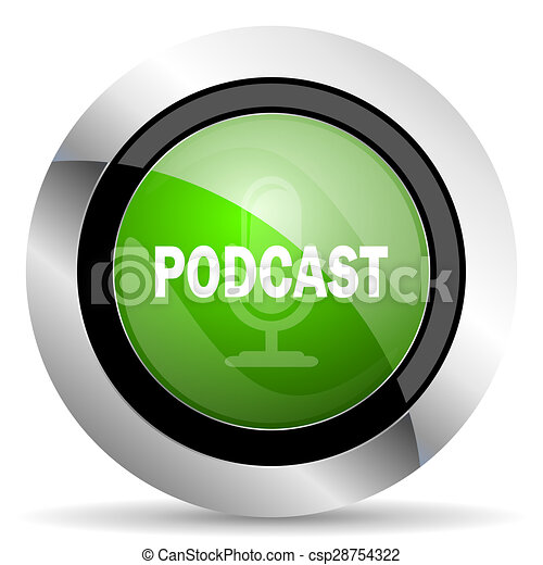 podcast icon, green button - csp28754322
