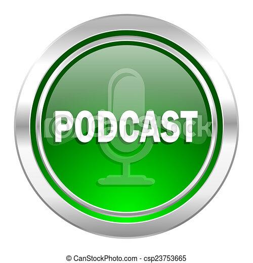 podcast icon, green button - csp23753665