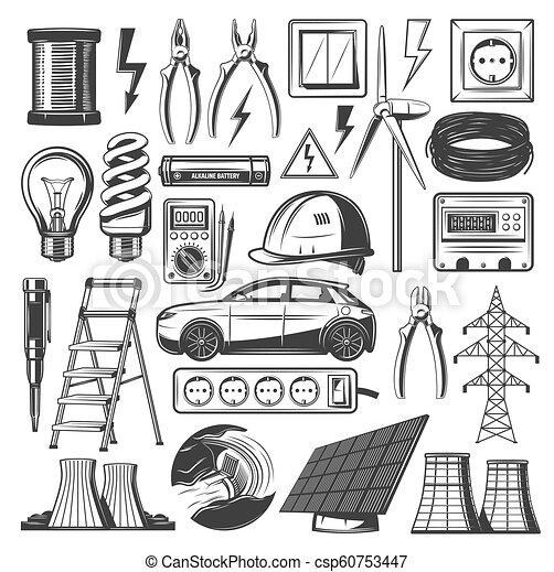 poder, ícones, electricidade, energia, fontes, vetorial - csp60753447