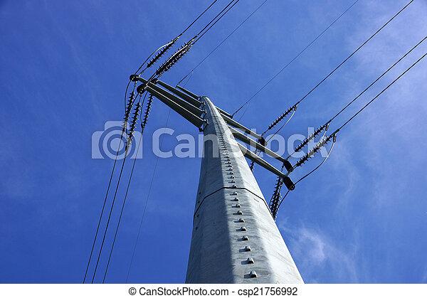 poder alto, metal, líneas, grande, poste, voltaje, intersecarse, utilidad - csp21756992