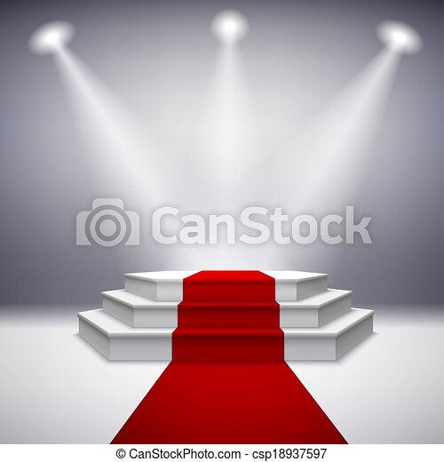 podio de escenario iluminado con alfombra roja - csp18937597