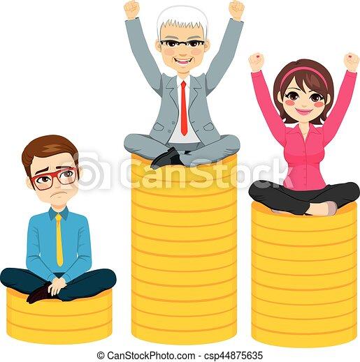 Gente de negocios compiten con el concepto de podio - csp44875635