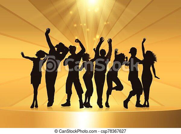 podio, dorato, persone, ballo, fondo, festa - csp78367627