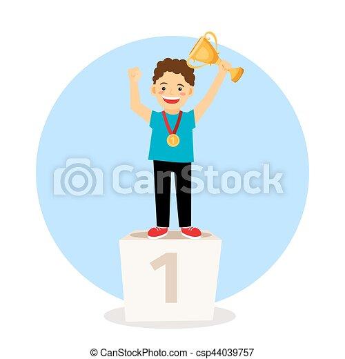 podium, gewinner, junges kind - csp44039757