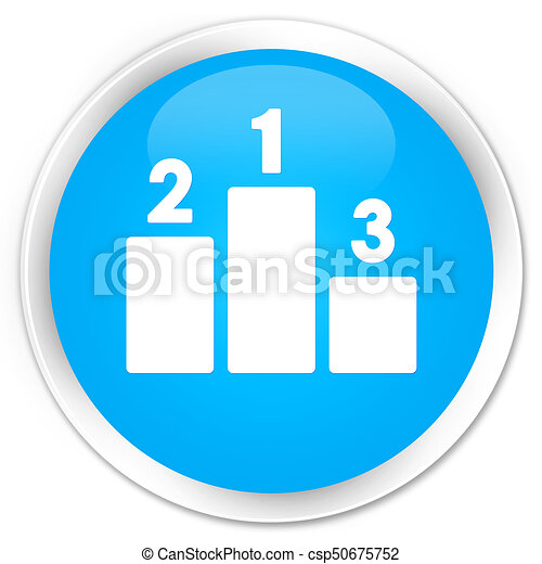 Podium icon premium cyan blue round button - csp50675752
