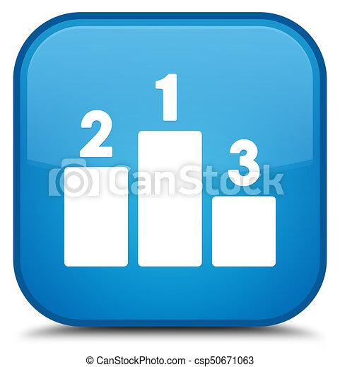 Podium icon special cyan blue square button - csp50671063