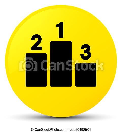 Podium icon yellow round button - csp50492501