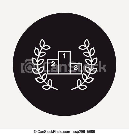 Podium line icon - csp29615686