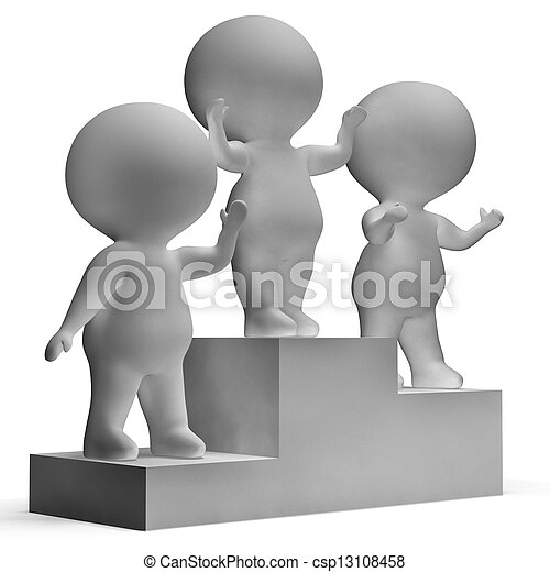 Podium With 3d Characters Showing First Place And Winning - csp13108458