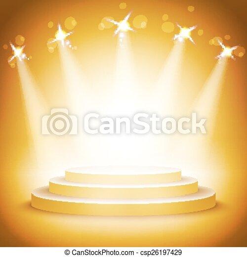 podiums, vide, or, étagère, exposition, rond, eps10., 3d. - csp26197429