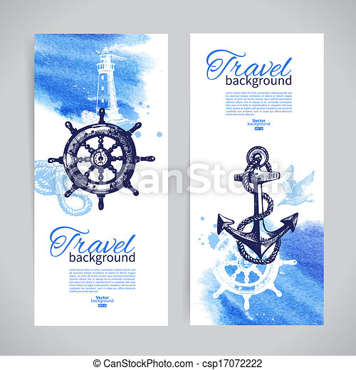 podróż, morze, banners., komplet, morski, akwarela, rys, ilustracje, ręka, pociągnięty, design. - csp17072222