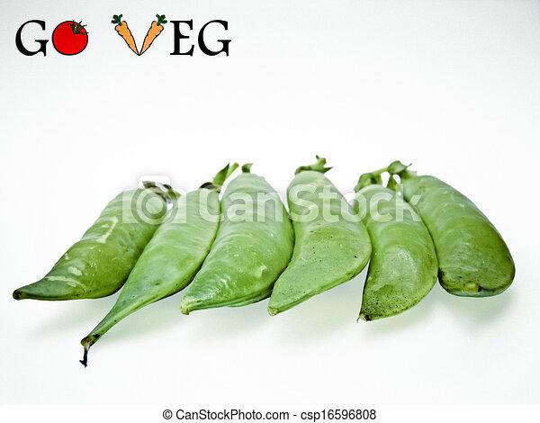 Pods of Sugar Snap Peas, Go Veg, Concept - csp16596808