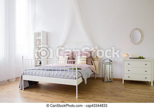 Podwójny Biały łóżko Sypialnia