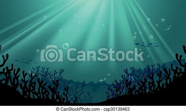 podwodny, koral, sylwetka, scena, rafa - csp30139463