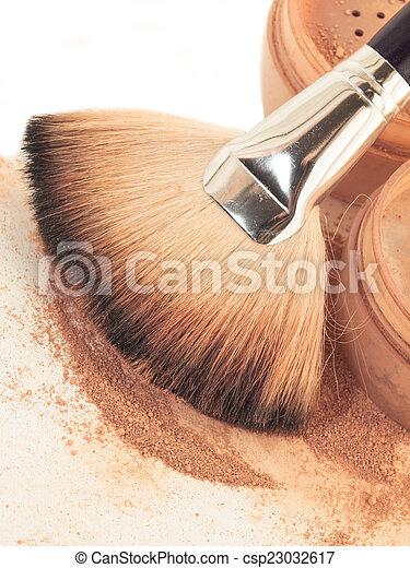 poeder, brush., op einde, gezicht - csp23032617
