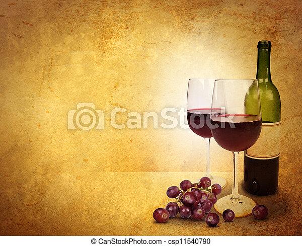 pohár bor, háttér, ünneplés - csp11540790
